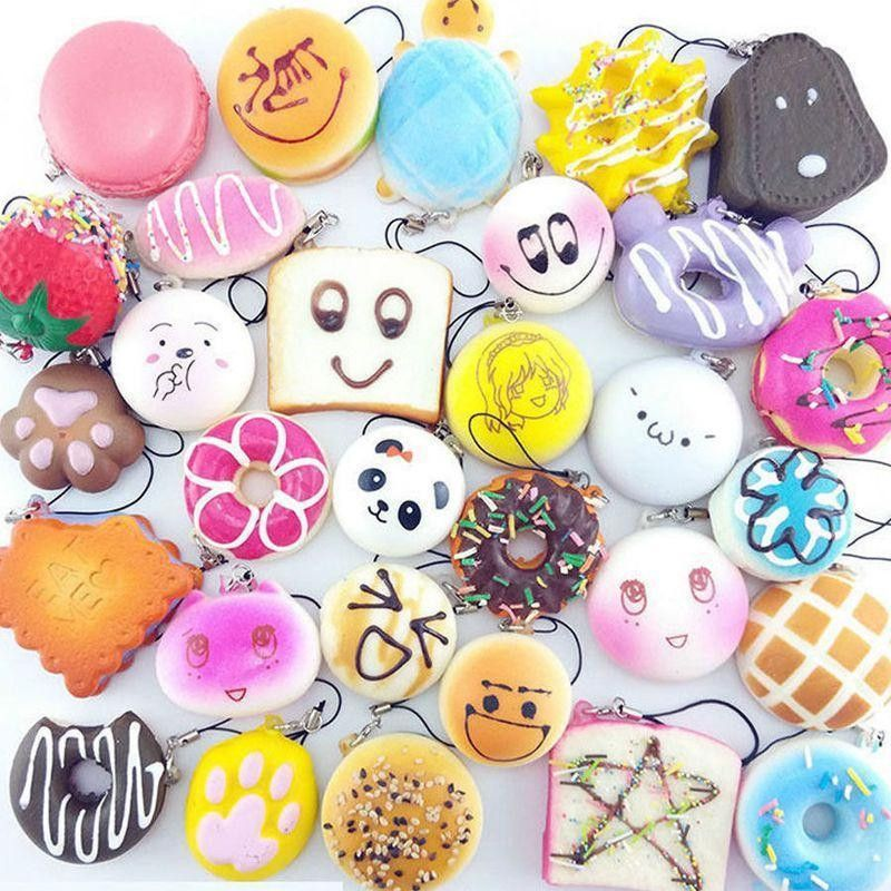 30Pcs/lot Slow Rising Squishy Squeeze Cute Soft Mini Bread Cake ice Cream Phone Straps Kids Wholesale