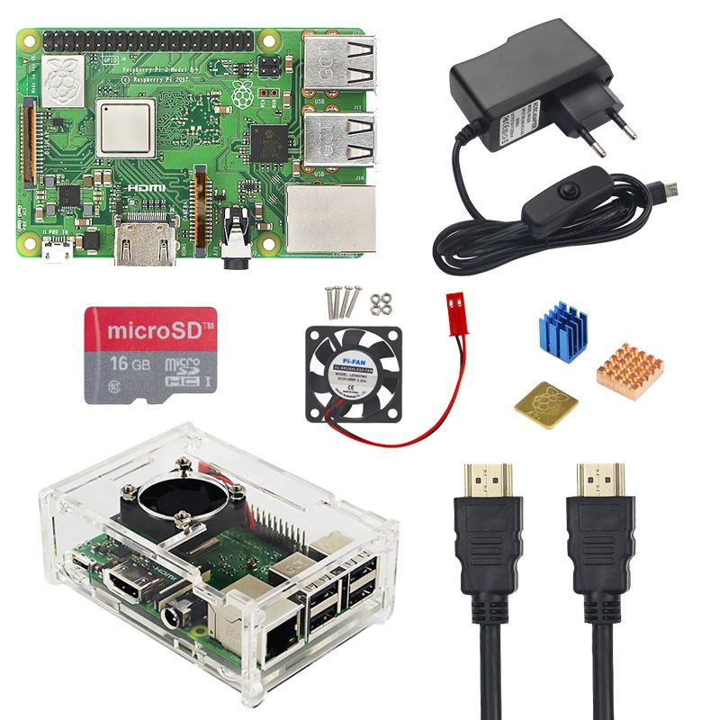UK RS Raspberry Pi 3 Model B+ Plus Kit 16 32GB Micro SD Card +Fan + 2.5A Switch Power Adapter+ HDMI Cable for Raspberry Pi 3 B+