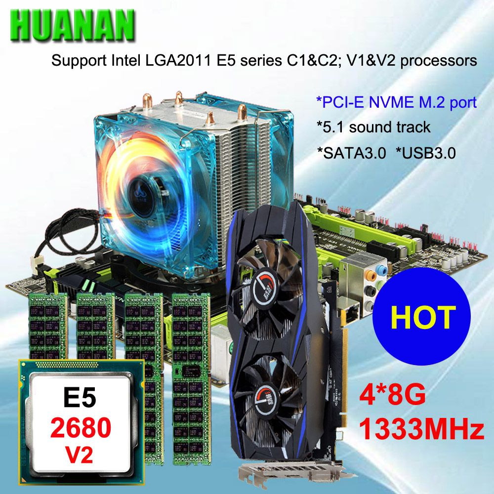 Brand motherboard on sale HUANAN ZHI X79 motherboard with M.2 slot video card GTX750Ti 2G CPU Xeon E5 2680 V2 RAM 32G REG ECC