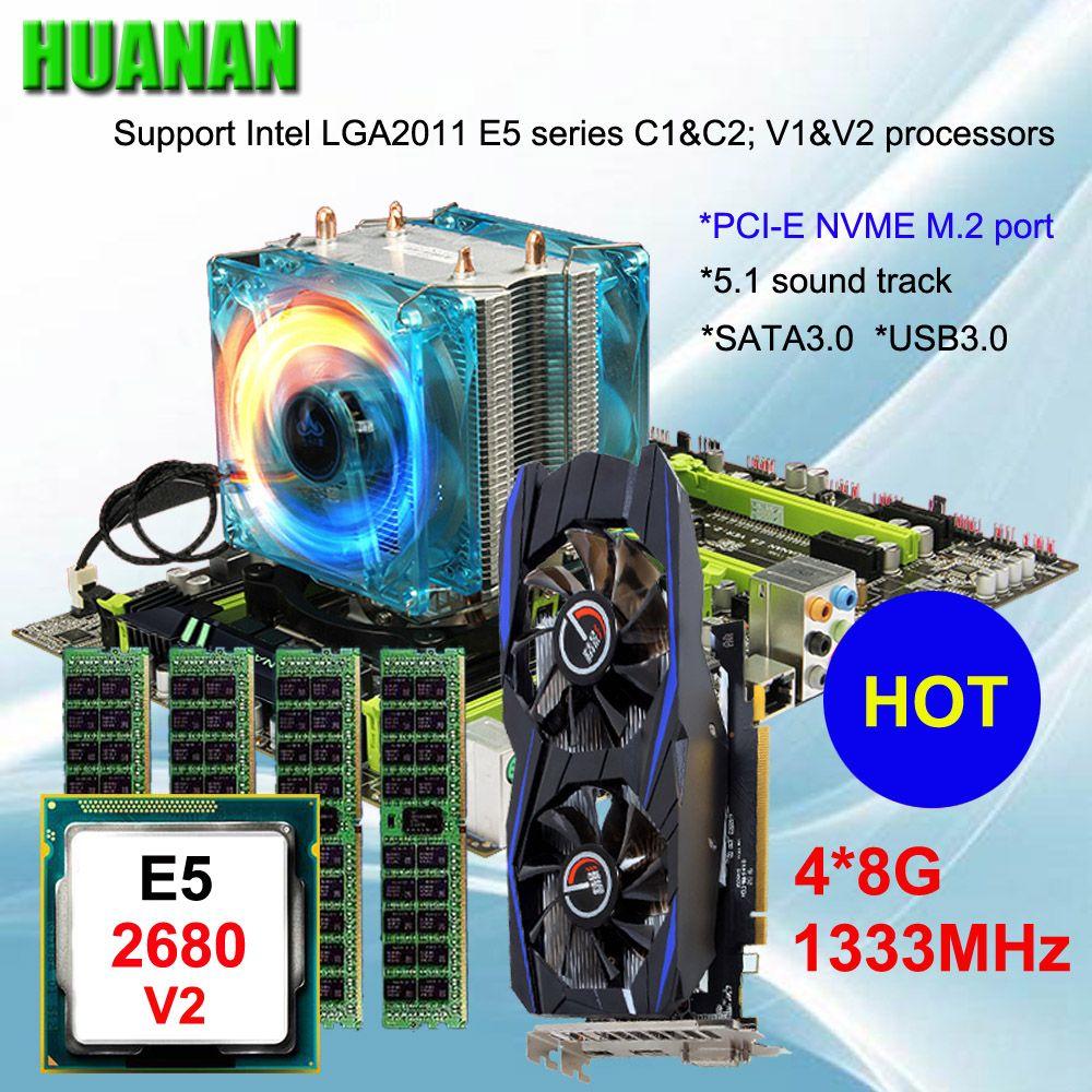 Marke motherboard auf verkauf HUANAN ZHI X79 motherboard mit M.2 slot video karte GTX750Ti 2g CPU Xeon E5 2680 v2 RAM 32g REG ECC