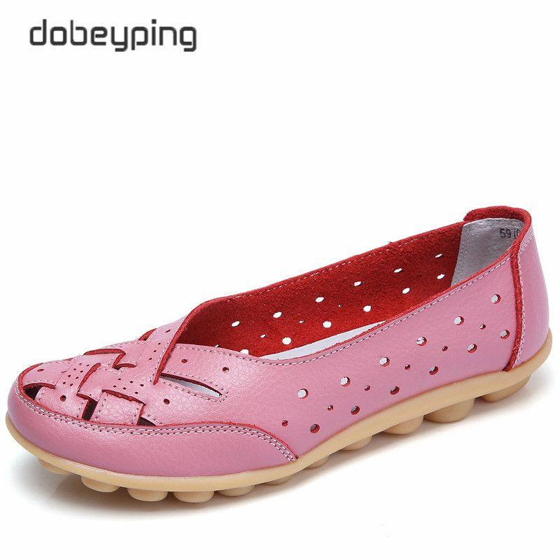 2017 été femmes chaussures décontractées en cuir véritable femme appartements sans lacet Femal mocassins dame bateau chaussure grande taille 35-44 en 8 couleurs