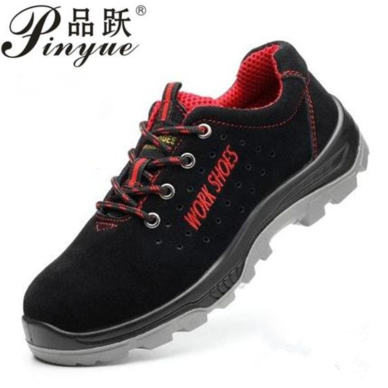 2018 Men's Breathable Steel Toe Safety Shoes with Puncture Proof Midsole Slip Resistance Light <font><b>Weight</b></font> Work Boot size 35--50