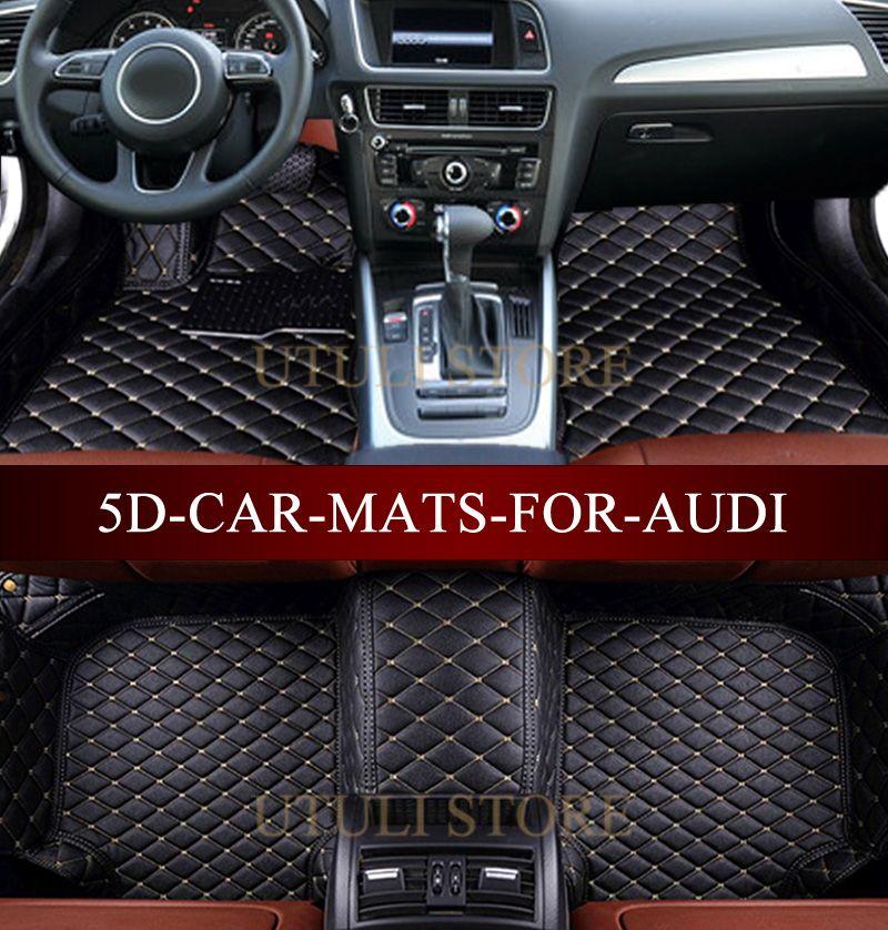 Tapis de sol en cuir pour Audi A1 A3 A4 A6 A7 A8 Q3 Q5 Q7 TT 3D sur mesure pour voiture tapis tous temps tapis de sol paspas