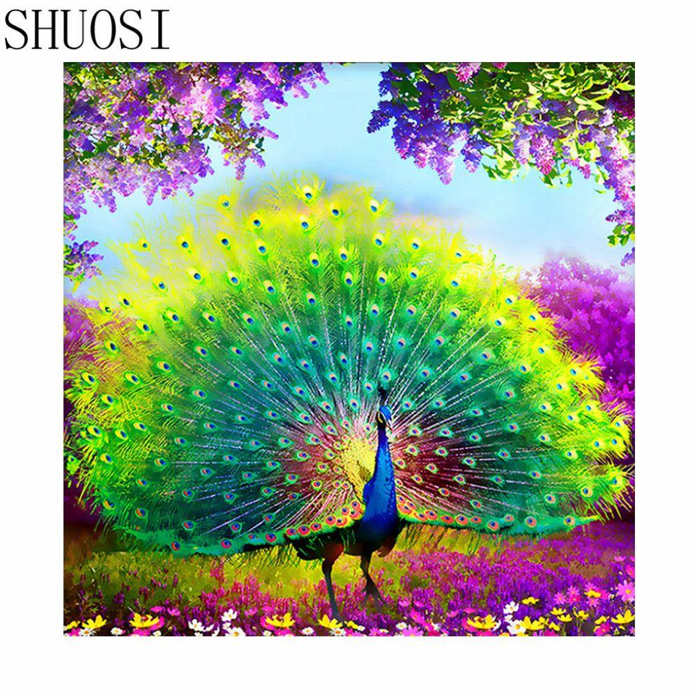 Diamant broderie animaux paon paramètres résine 100% image strass bricolage diamant peinture 5d kits de broderie perlée mosaïque motif