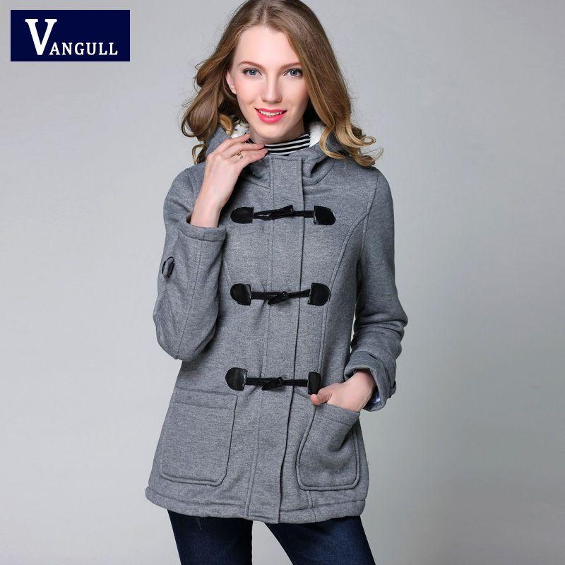 Veste d'hiver À Capuche Femme Manteau D'hiver Mode Automne Femmes Parka Corne Bouton Manteaux Abrigos Y Chaquetas Mujer Invierno 2015