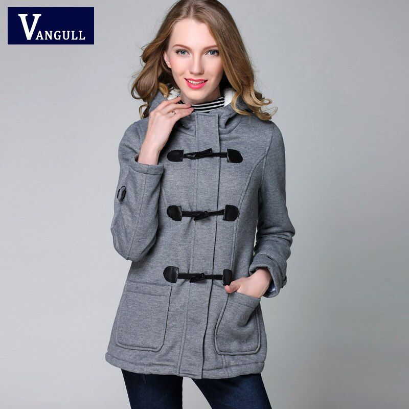 Winter Jacket Women Hooded Winter Coat Fashion <font><b>Autumn</b></font> Women Parka Horn Button Coats Abrigos Y Chaquetas Mujer Invierno 2015
