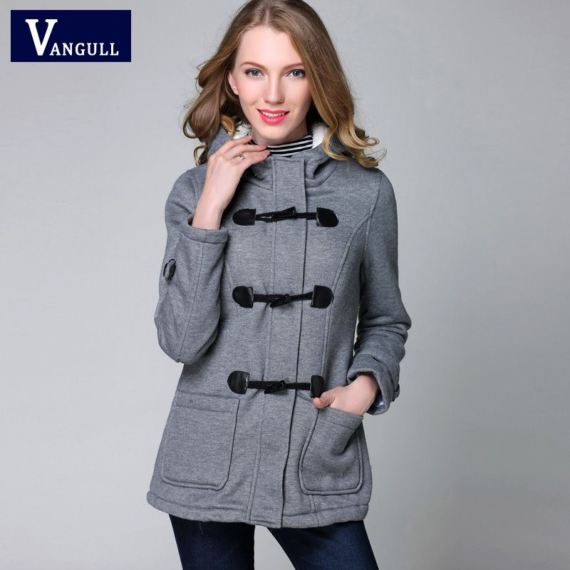 Winter Jacket Women <font><b>Hooded</b></font> Winter Coat Fashion Autumn Women Parka Horn Button Coats Abrigos Y Chaquetas Mujer Invierno 2015