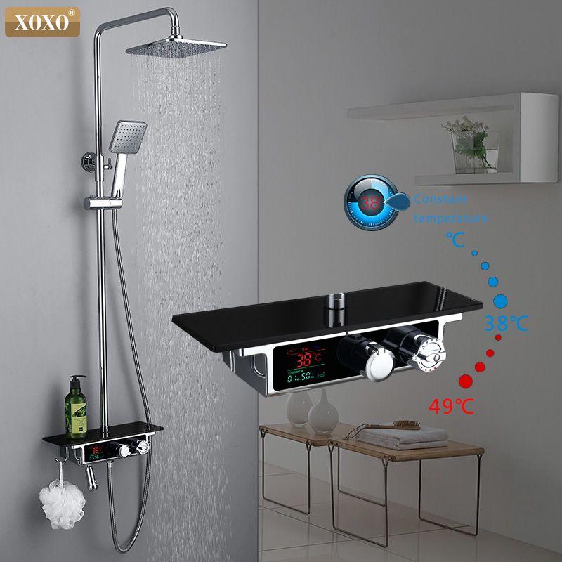 XOXO freies verschiffen neue luxus dusche wasser dynamische led-digitalanzeige thermostat duscharmatur 88030