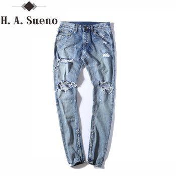 Канье Уэст одежда уличная светло-голубой цвет в стиле хип-хоп джинсы рокстар Джастин Бибер молнии лодыжки destroyed skinny рваные джинсы для мужчин