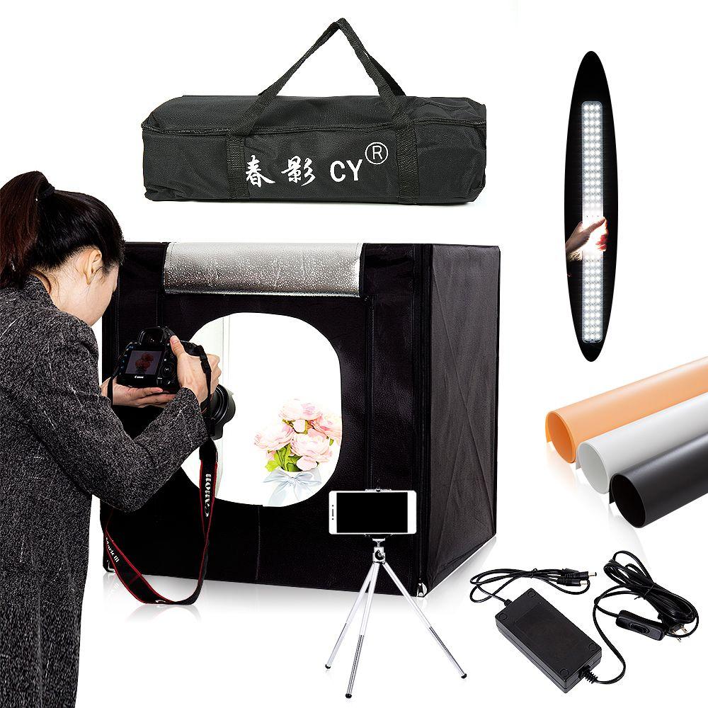 CY 60*60 cm LED Photo Studio lumière tente Softbox Tir de Lumiere Tente Softbox + Sac Portable + adaptateur secteur pour Bijoux Jouets Tir