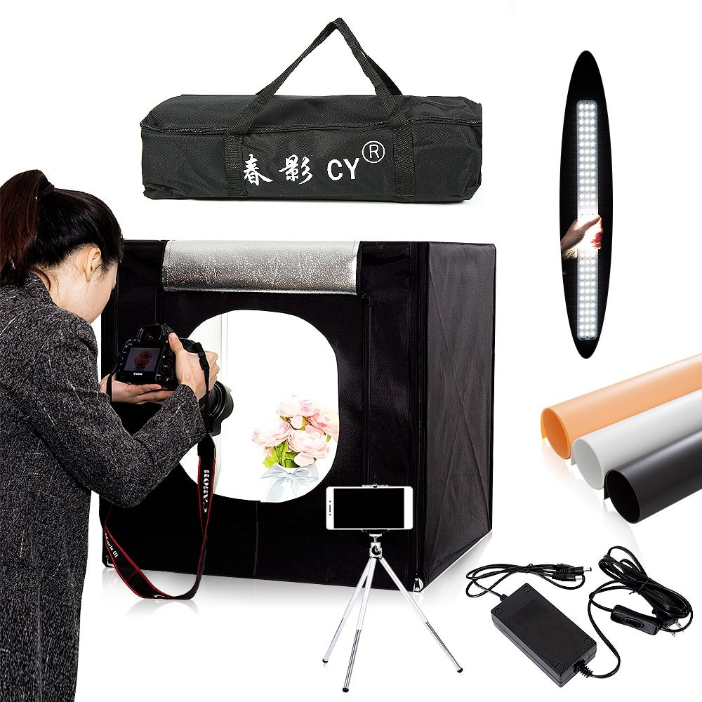 CY 60*60cm LED Photo Studio light <font><b>tent</b></font> Softbox Shooting Light <font><b>Tent</b></font> Soft Box + Portable Bag + AC Adapter for Jewelry Toys Shoting