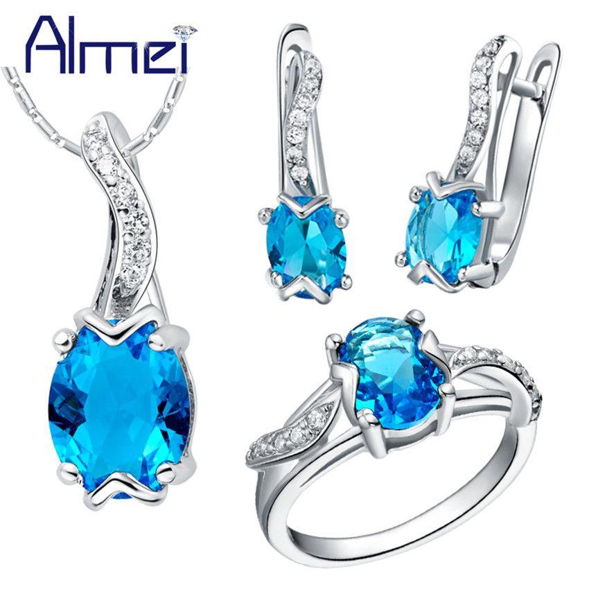 Almei 50% Off Joyería de Traje de Plata Azul Cubic Zirconia Anillos de Accesorios de La Boda Collar Y Aretes Mujeres Bisuteria T232