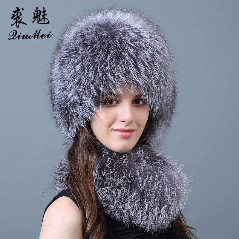 Women's Real Fur Scarf Hat Sets for Rrssian Winter Scarf and Hat 2018 Fur Fashion Natural Fox Fur Hat and Scarf Set Female