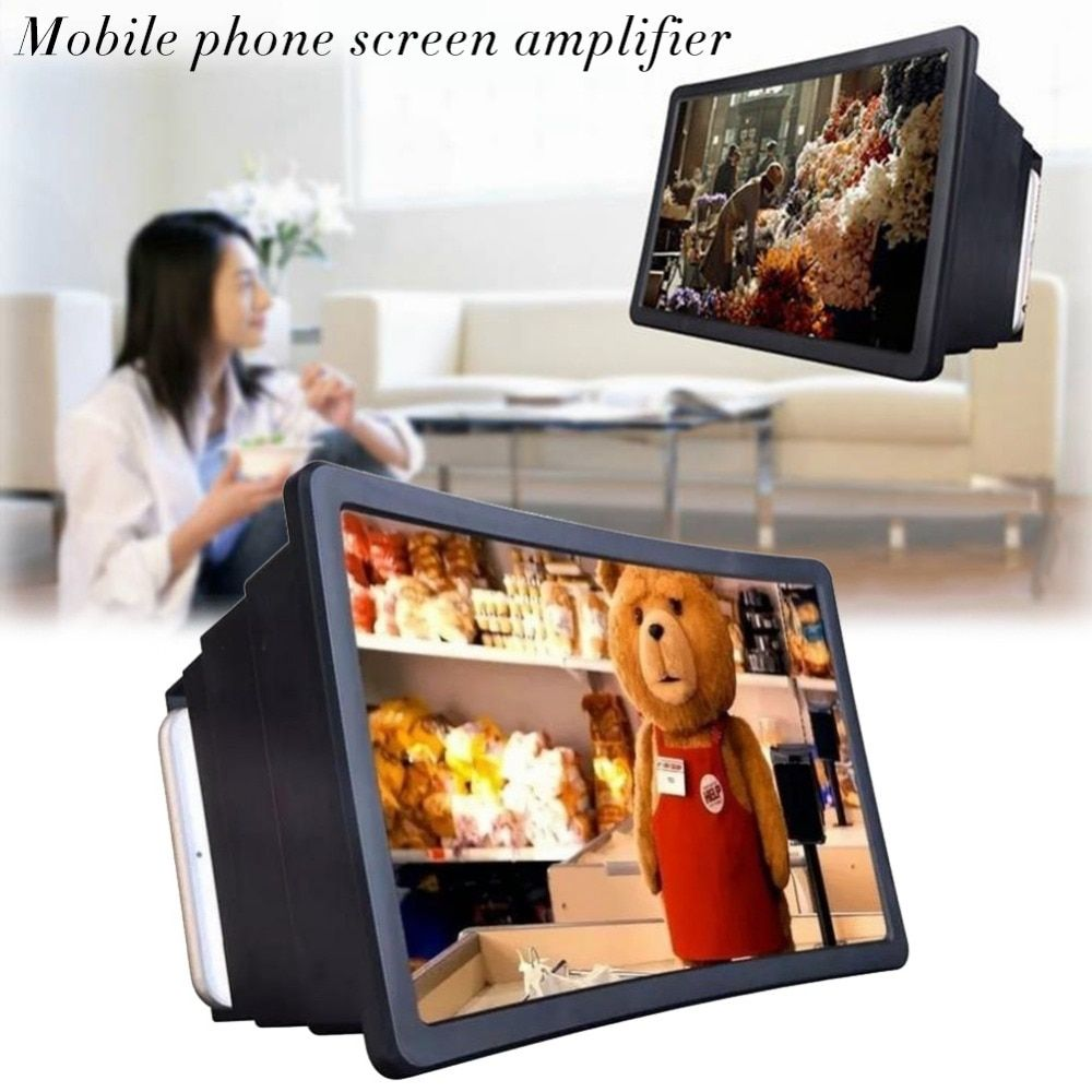 New Mobile Phone Universal 3D Screen Amplifier Magnifying Glass HD Stand for Video Car Holder Phone Screen Amplifier Magnifier