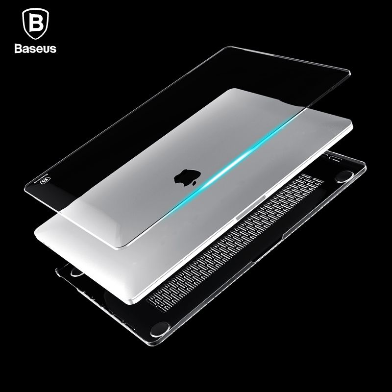 Baseus <font><b>Laptop</b></font> Case For Apple New Macbook Pro 13 15 2016 Model A1706 A1707 With Touch Bar Clear Crystal Full Body Cover Case