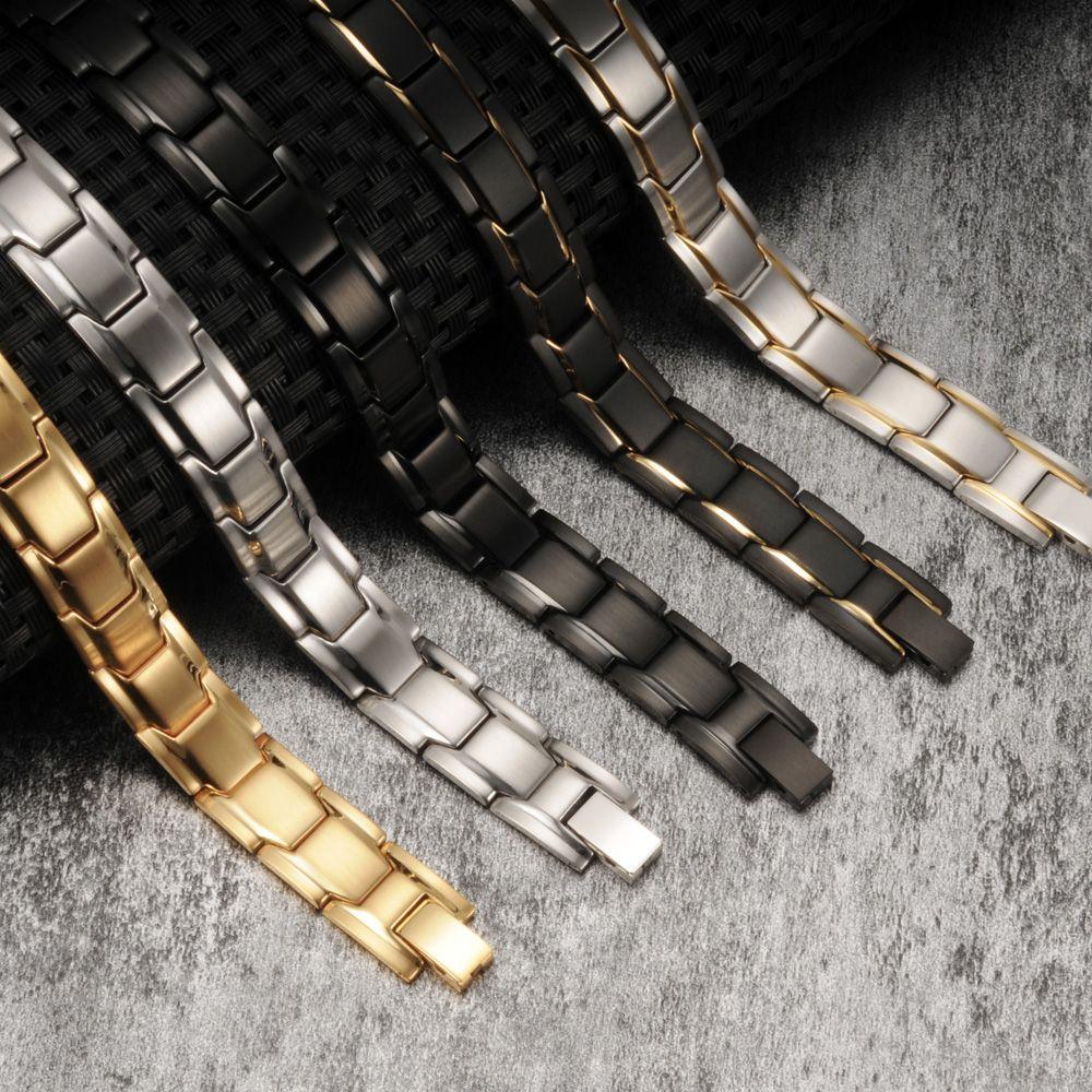 Vinterly Black Magnetic Bracelet Men Stainless Steel Energy Germanium Magnet Health Bracelets Men Hand Chain Bracelets for Women