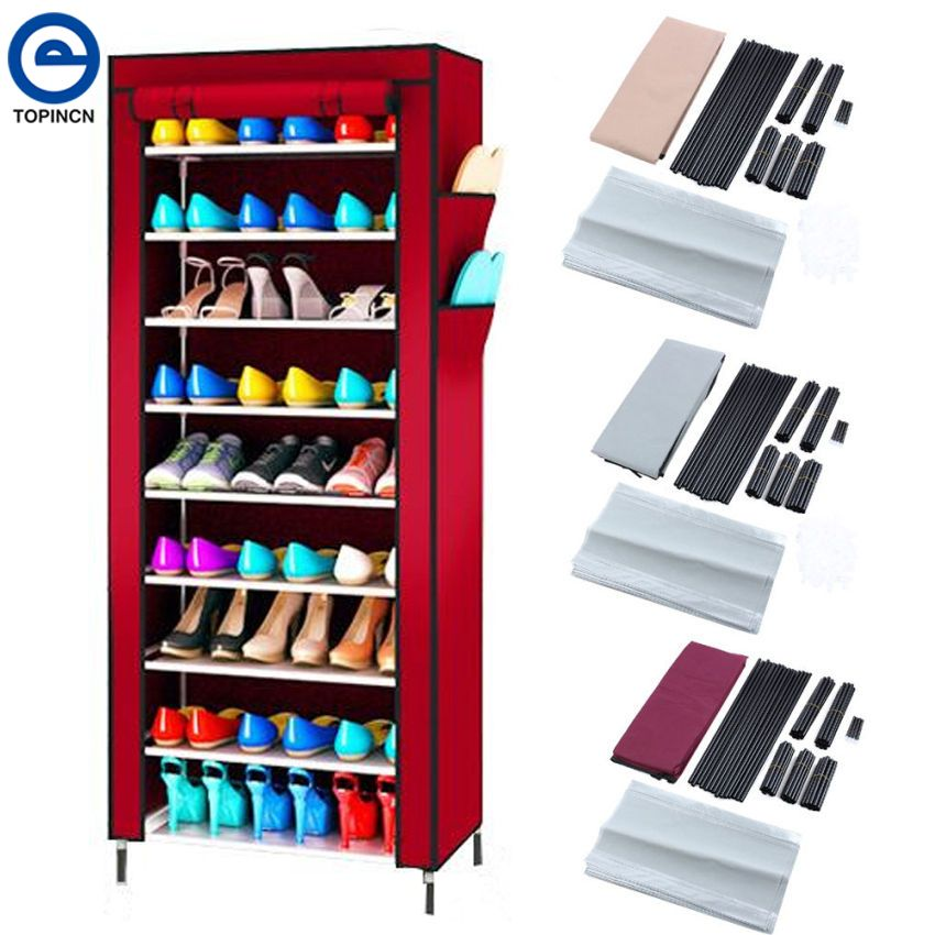 Large Capacity Shoe Rack Shoes Cabinet Canvas Fabric Standing Storage Rack W/ Zipper Prevent Dust Shoe Shelf Organizer Furniture