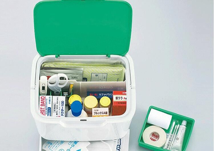 Japan imported household medicine box, portable multi tier first-aid kit, medicine box, household box.