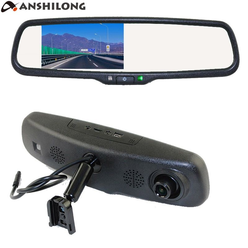 ANSHILONG Car Rear View Mirror DVR with 4.3 inch Monitor + Special OEM Bracket 720P Digital Video Recorder G-sensor