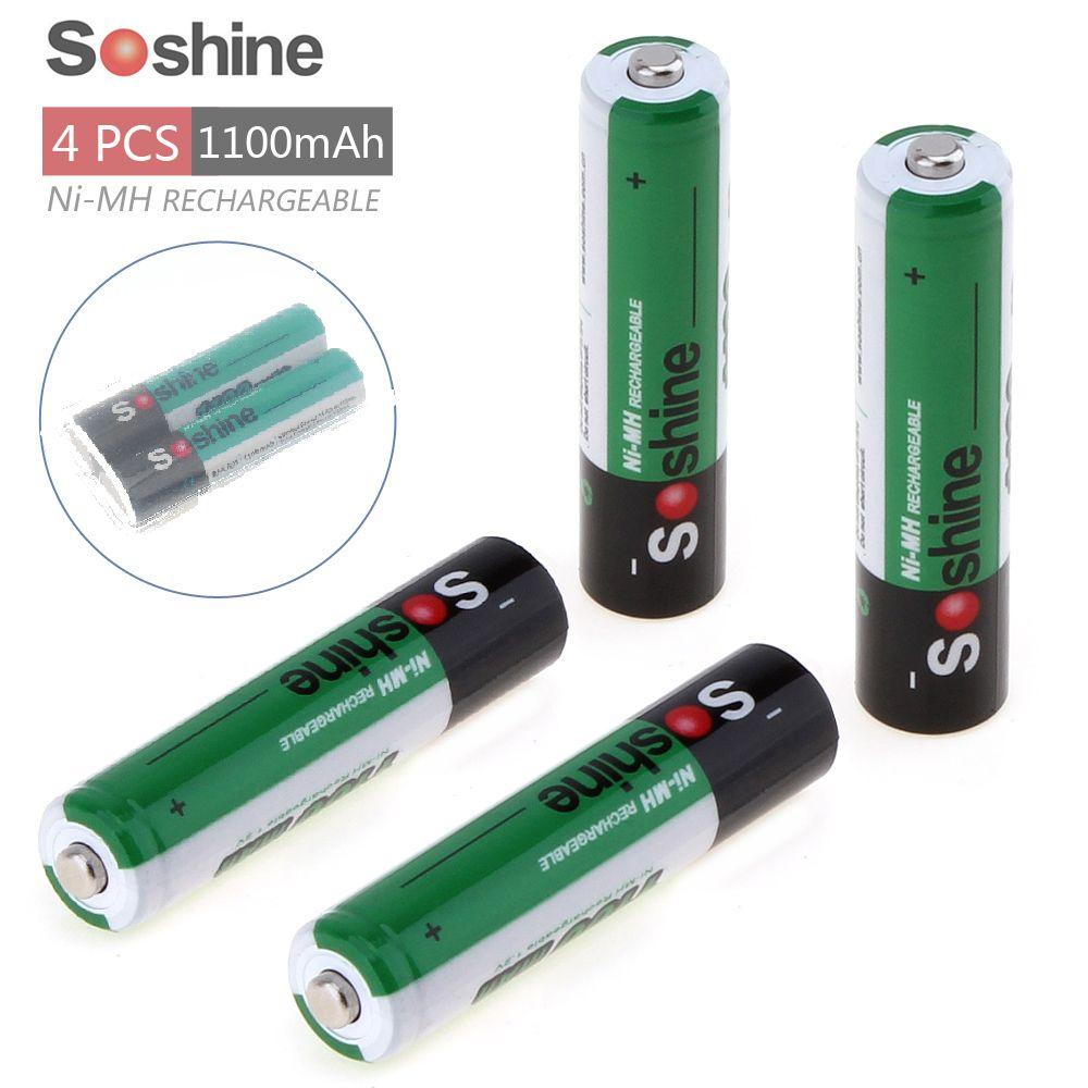 4 pièces Soshine 1100 mAh 1.2 V AAA batterie/3A batterie Ni-MH NiMH batterie Rechargeable + boîte de stockage porte-batterie