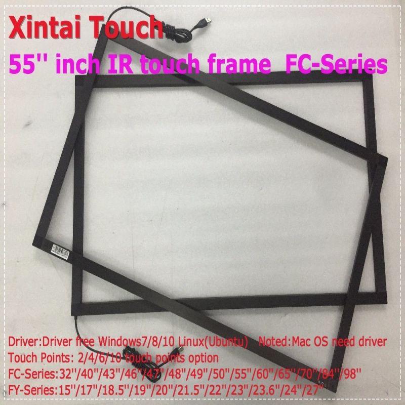 55 55 zoll IR touch screen panel kit Echt 10 punkte Open Frame Infrarot USB IR Multi Touch Screen rahmen, stecker und spielen