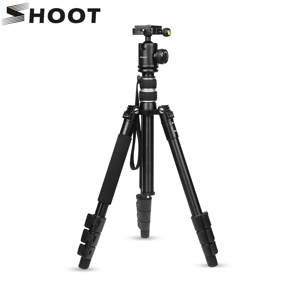 SHOOT Flexible 4-sections Aluminum Alloy Camera Travel Tripod for Canon Nikon DSLR Camcorder With Monopod Ball Head Accessories