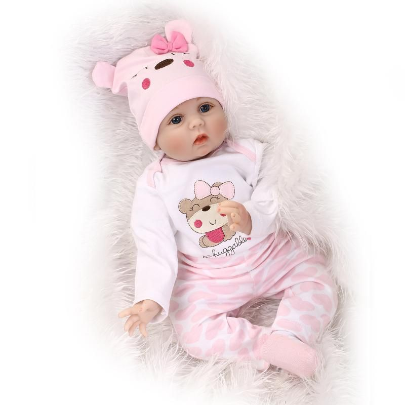 55cm Soft Body Silicone Reborn Baby Doll Toy For <font><b>Girls</b></font> NewBorn <font><b>Girl</b></font> Baby Birthday Gift To Child Bedtime Early Education Toy