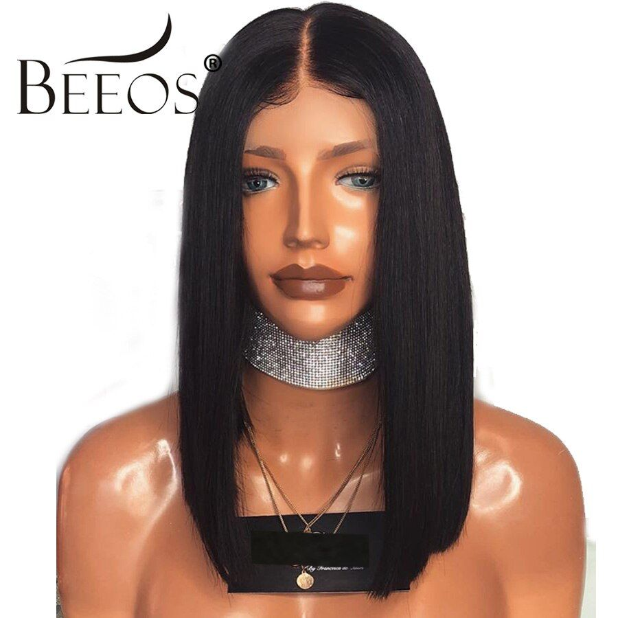 13x6 Short Bob Cut Lace Front Human Hair Wigs Pre Plucked Deep Part Frontal Remy Brazilian Straight Wig For Women Natural Black
