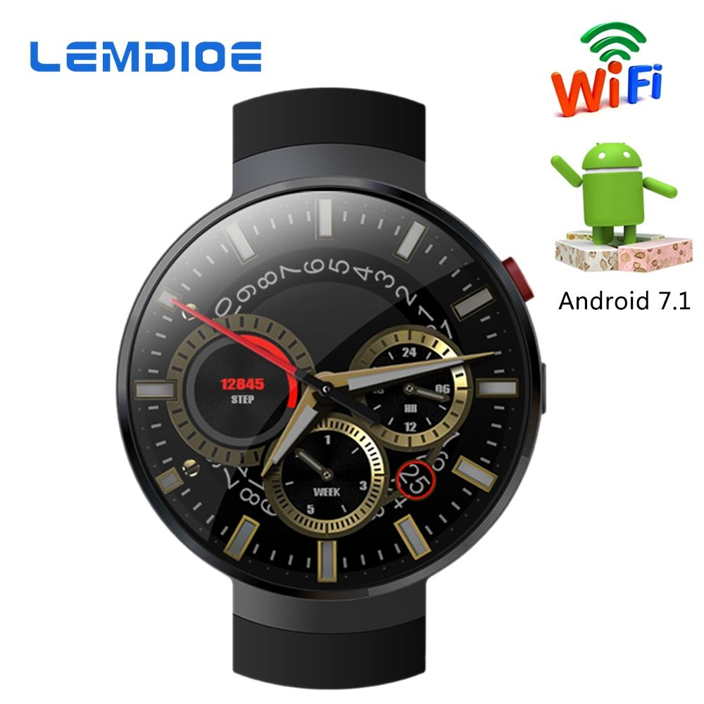 LEMDIOE LEM7 Smart Watch Android 7.1 LTE 4G Smartwatch 2MP Camera WIFI Heart Rate 1GB + 16GB Memory with Camera Translation Tool