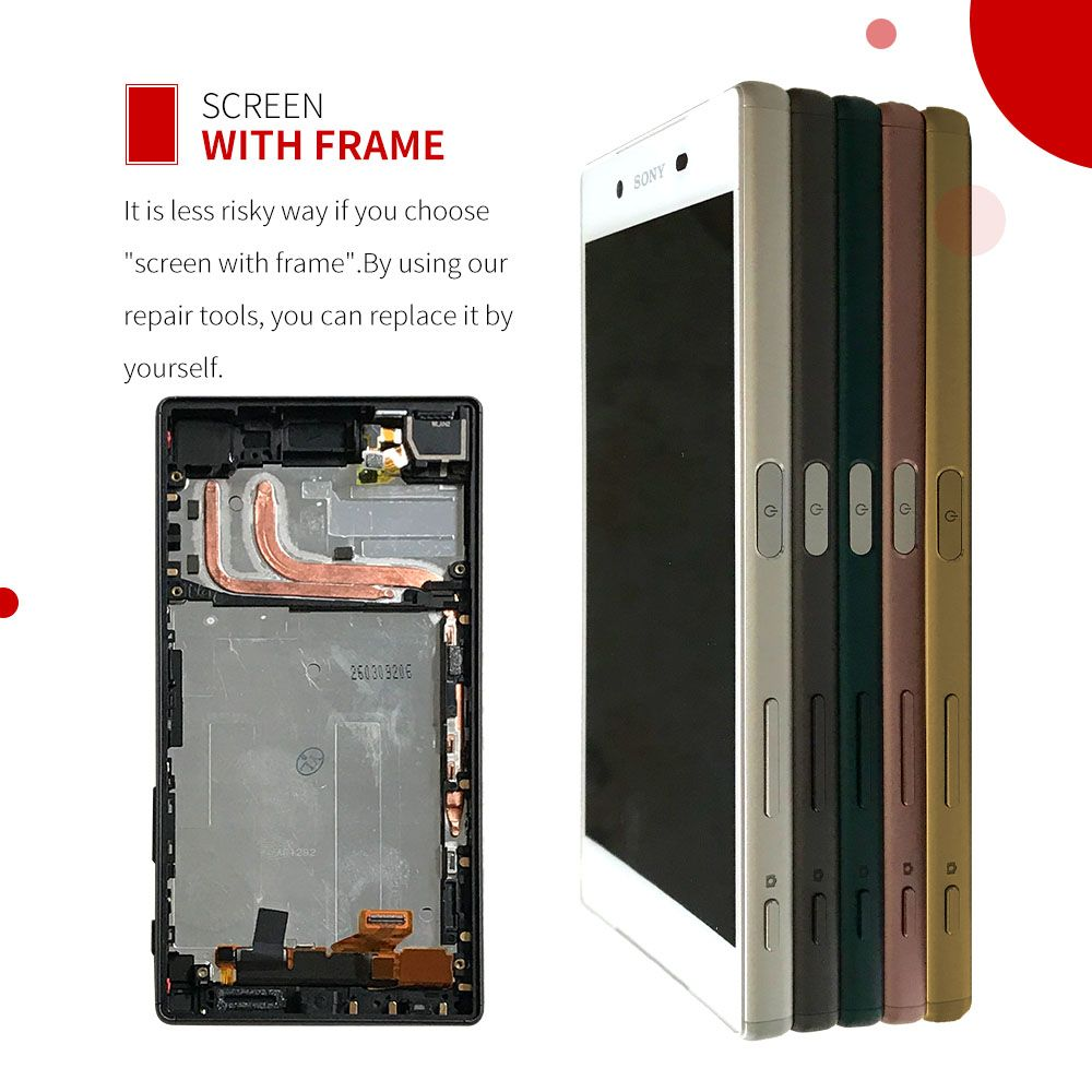 100% Original For SONY <font><b>Xperia</b></font> Z5 LCD Touch Screen For SONY <font><b>Xperia</b></font> Z5 Display Digitizer Assembly E6653 E6603 E6633 LCD with Frame