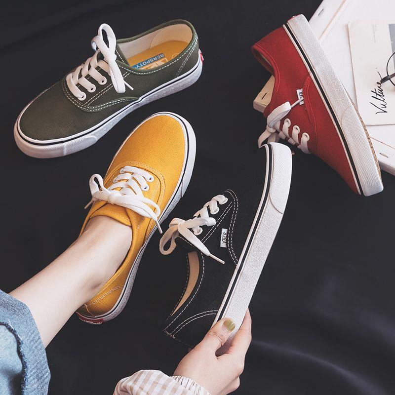 2019 nouvelles chaussures en toile femmes adolescentes chaussures de Skateboard printemps été couleur bonbon baskets de rue tout Match en plein air chaussures 35-40