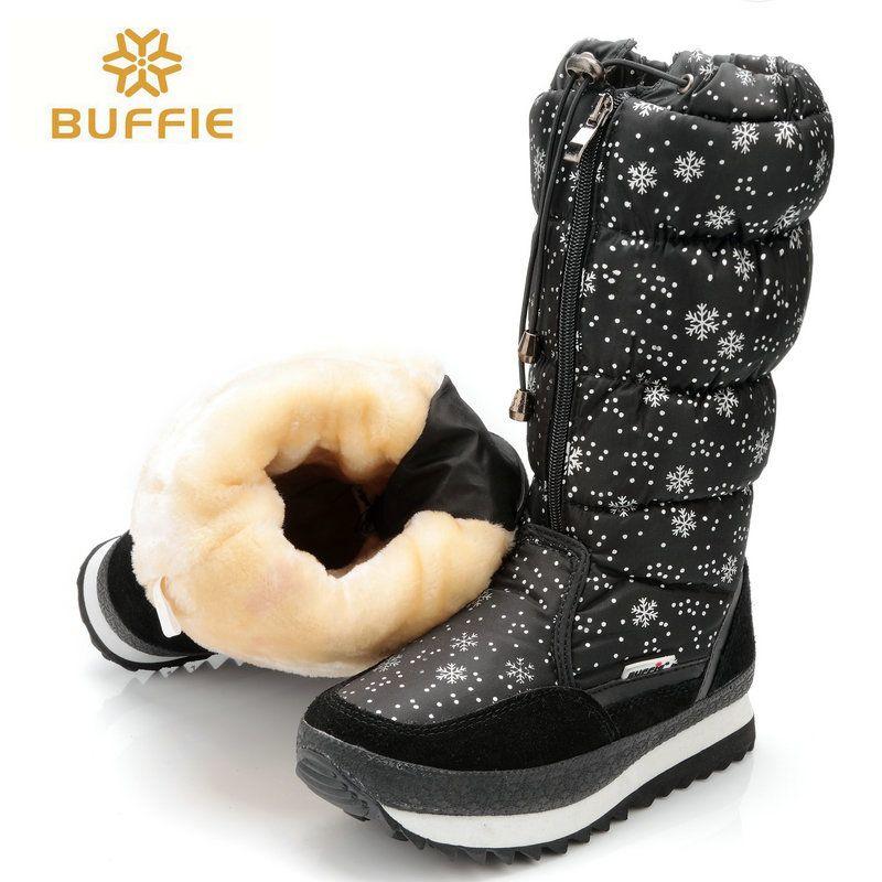 Schwarz hohe version winter frauen stiefel schneeflocke oberen spitze-up zipper hohe bein stiefel weiblichen schnee stiefel großen größe 40 41 warme stiefel