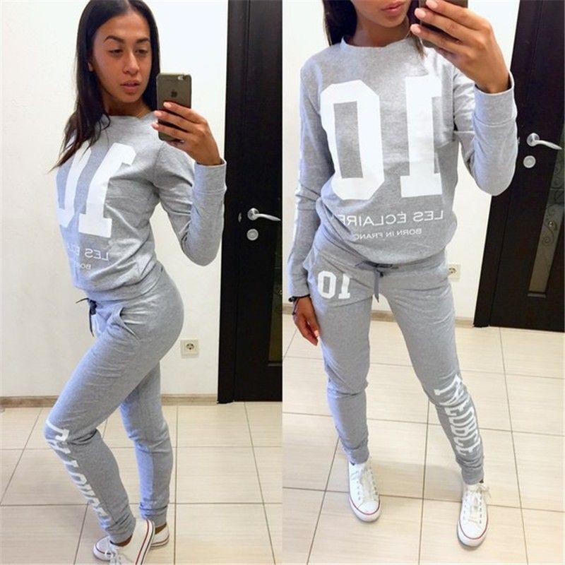 2017 nouveau imprimé survêtements femmes v-cou ensemble costumes pour sweat à capuche pour femme sweat pour femmes long pantalon dame femme 10 lettre imprimer