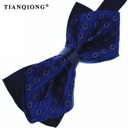 TIAN QIONG New Men's Fashion Ties British Fashion 100% Polyester Fine Grid Butterfly Bow Ties Wholesale 17 Colors Free Shipping