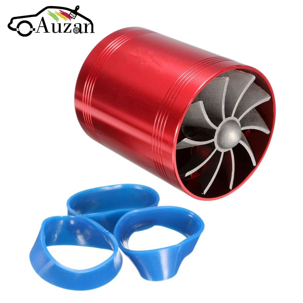 Car Turbo Supercharger Universal Air Intake Dual Fan Turbonator Gas Fuel Saver Red/Chrome Aluminum High Quality