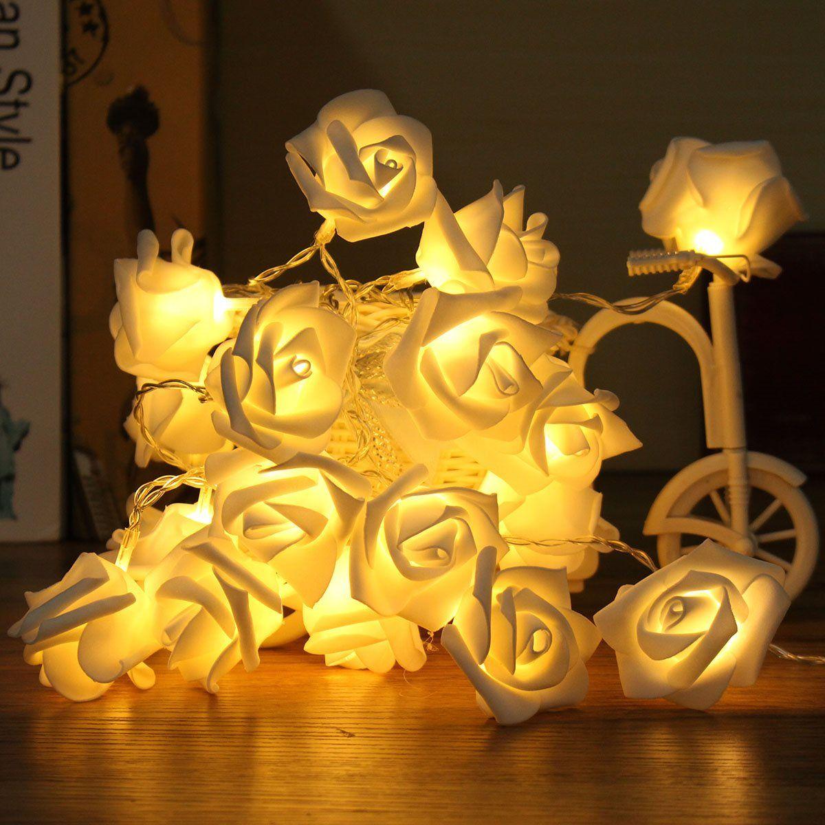 20 LED Fee Nicht Wasserdichte Bunte Rosen Blume LED Lichterketten Batterie Betrieben Außen Weihnachten Party Hochzeit Dekoration
