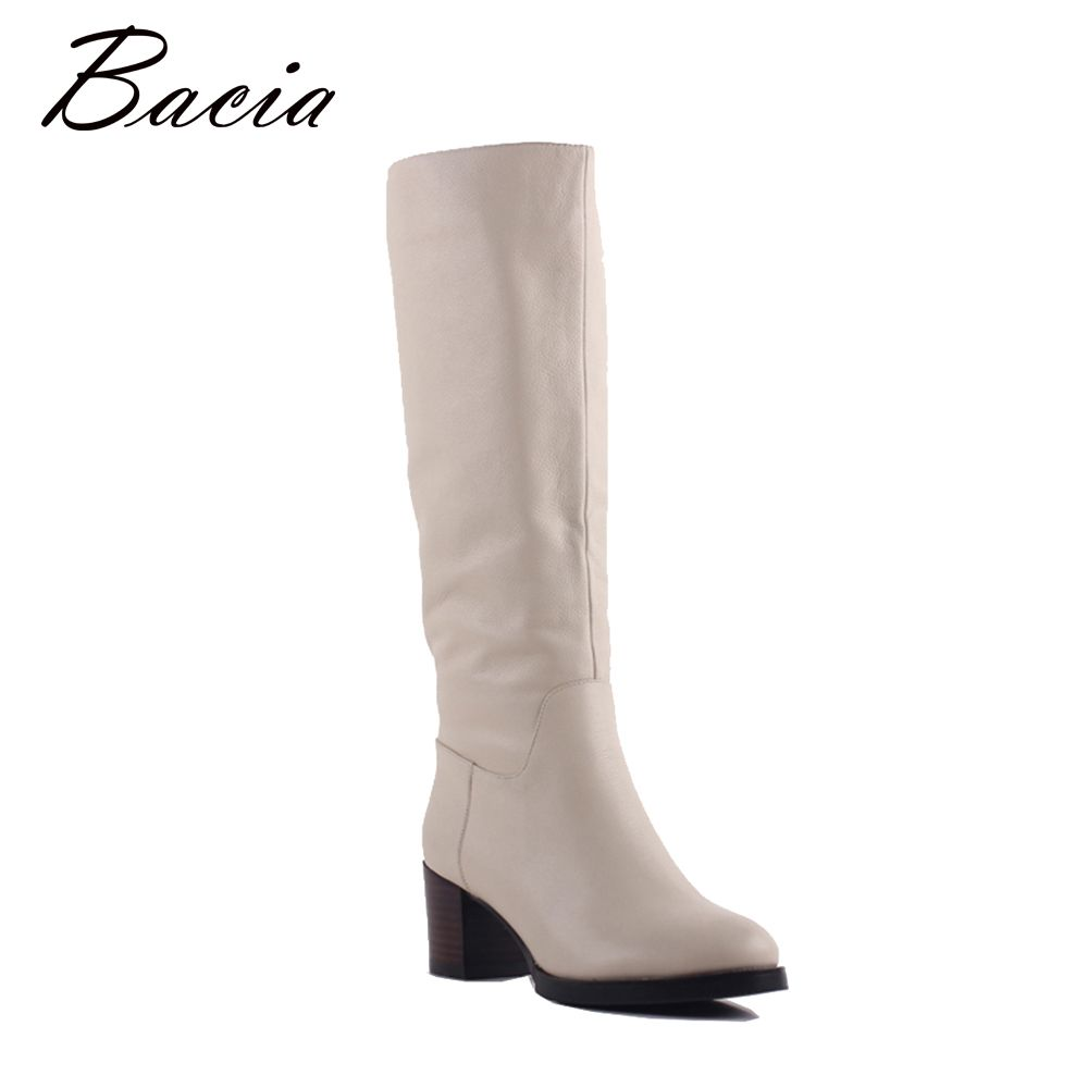 Bacia 100% Real Fur Classic Mujer Botas Genuine Cowhide Leather Snow Boots Winter Shoes for Women Light Apricot Boots SA077