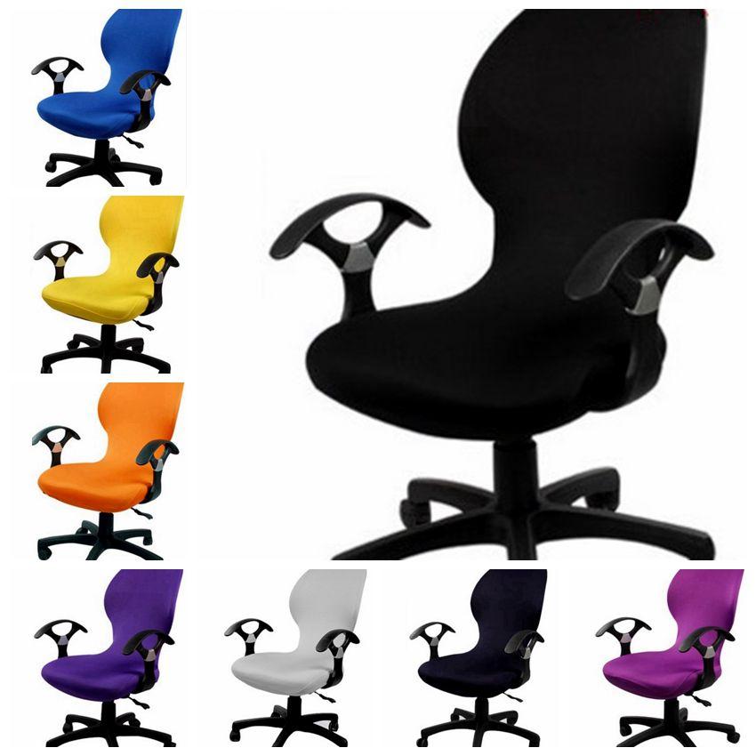 Housse de chaise d'ordinateur Spandex adaptée à la chaise de bureau avec accoudoir housse extensible chaise dinant la couverture pour la décoration de chaise