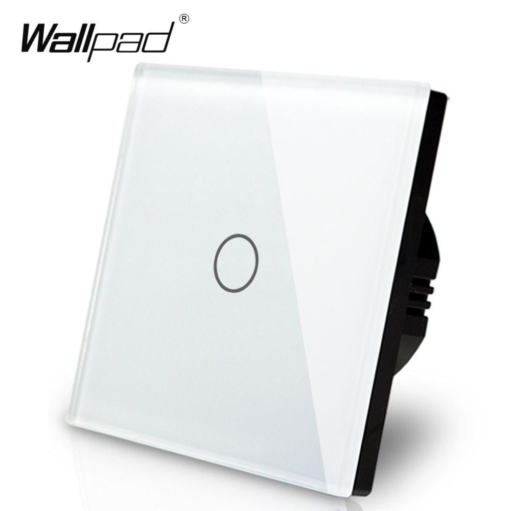 Fabricant Wallpad EU Standard 1 Gang 2 voies 3 voies contrôle blanc mur lumière écran tactile interrupteur panneau de verre, livraison gratuite