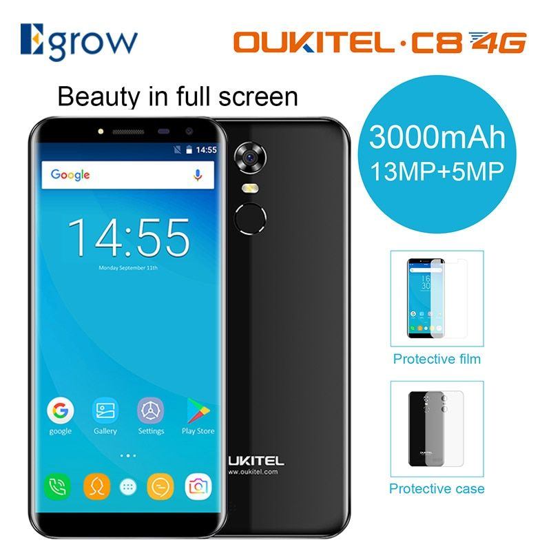 Oukitel C8 4G Mobile Phone 5.5 Inch 18:9 Screen phone Quad Core 2GB RAM 16GB ROM 13MP Android 7.0 3000mAh Touch ID Smartphone