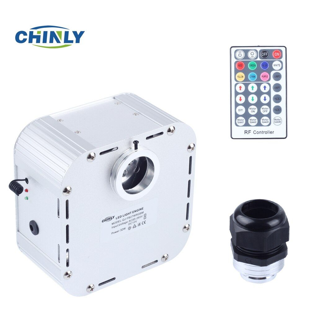 32W Twinkle 4 level-speed RGB LED Fiber Optic Light Engine with 28 key RF Remote Controller for Starry Sky Effect Power Source