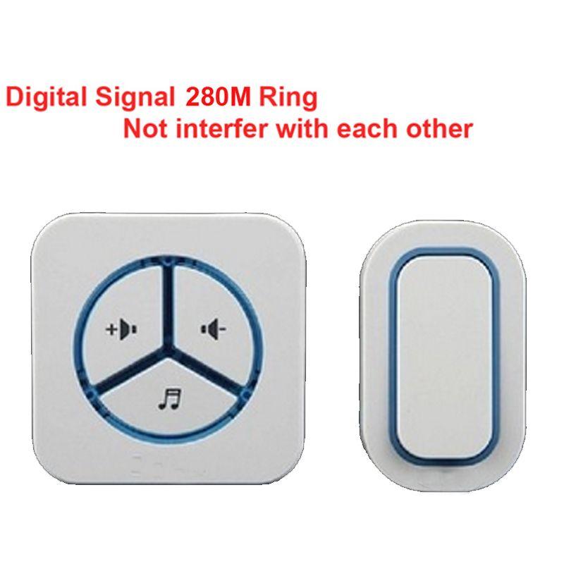 1 emitter+1 receiver doorbell Waterproof 280m work wireless doorbell,wireless door chime,wireless bell, 48 melodies door bell