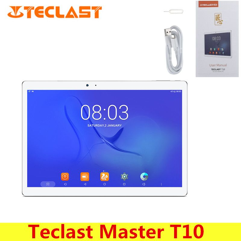 Teclast Master T10 10.1 inch Tablet PC Android 7.0 MTK8176 Hexa Core 1.7GHz 4GB 64GB Fingerprint Sensor Dual WiFi OTG Cameras