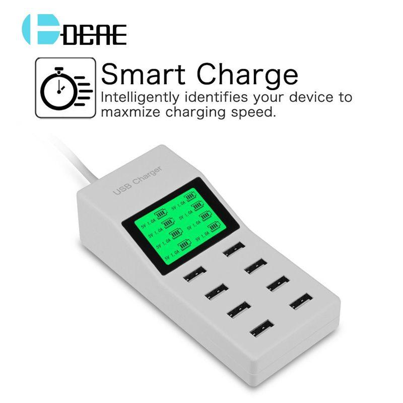 8 Ports USB Mur Chargeur LED Affichage Écran US, UK, eu Plug Adaptateur Mobile Téléphone Chargeur pour l'iphone Samsung Xiaomi USB Chargeur