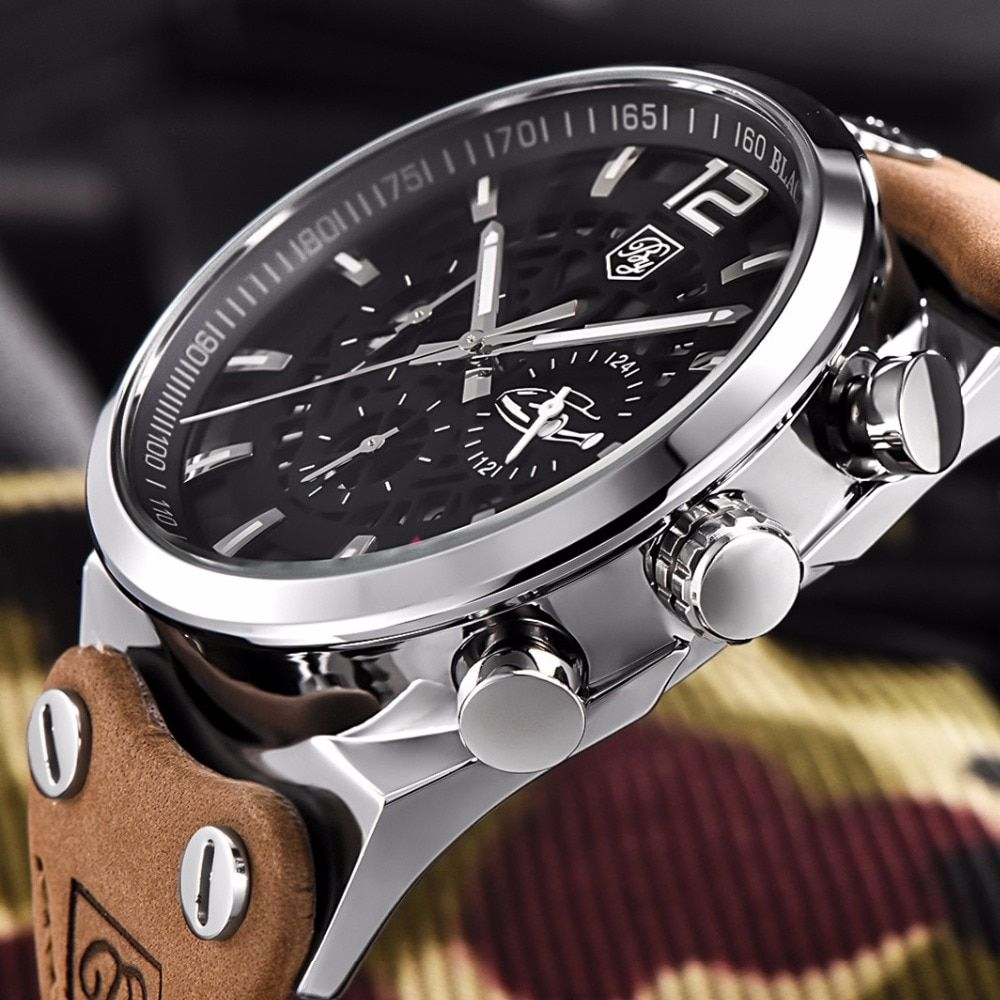 Benyar Men Watch Top Brand Luxury Male Leather Waterproof Sport Quartz Chronograph Military Wrist Watch Men Clock montre homme