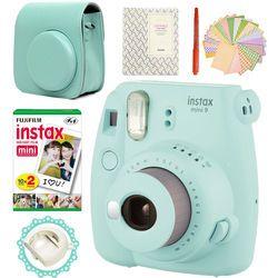 Fujifilm Instax Mini 9 Camera Ice Blue + 20 Photos Fujifilm Instant Mini 8 White Film + PU Leather Bag +  Album + Pen + Stickers