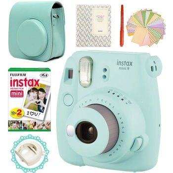 Fujifilm Instax Mini 9 Camera Ice Blue + 20 Photos Fujifilm Instant Mini 8 White Film + PU Leather Bag +  Album + Pen + Stickers