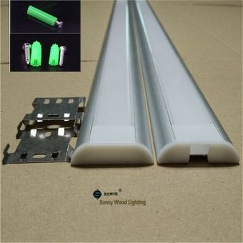 10-30pcs/lot  2m aluminium profile for led strip of 26mm pcb with fittings ,light guide flat LED channel for bar light