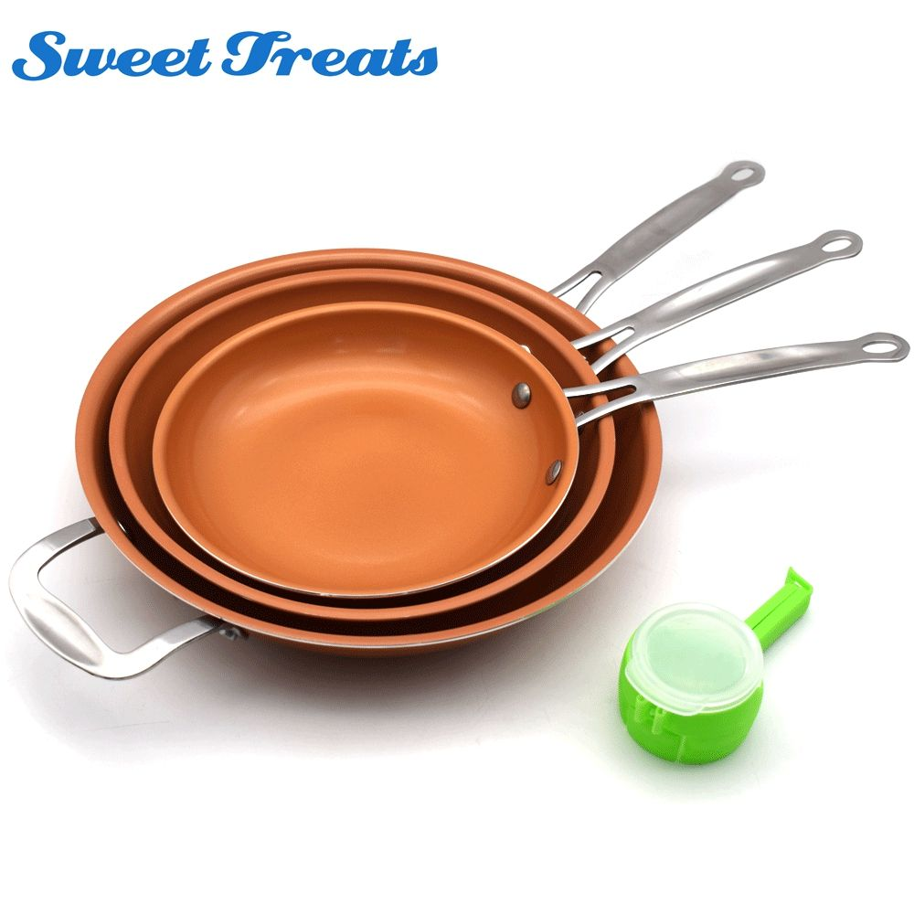 Sweettreats A Set 8/10/12 inch Non-stick Copper Frying Pan with Ceramic Coating and Induction cooking+1 pc Utility Healthy Food
