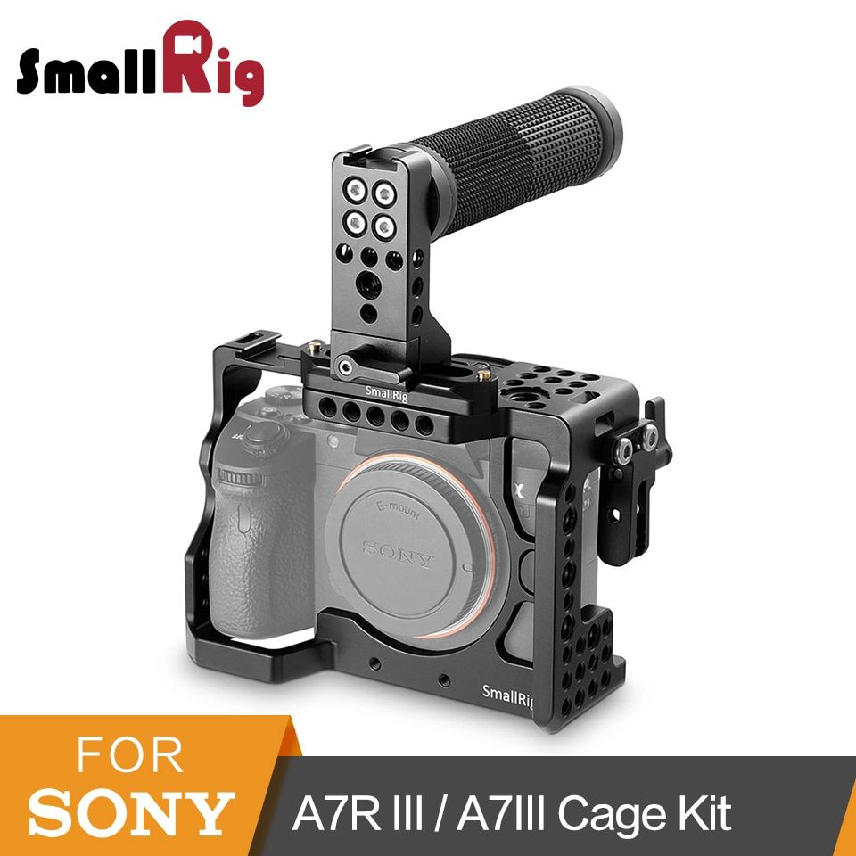 SmallRig A7iii Cage Kit for Sony A7R III/A7III Camera With Top NATO Handle+NATO Rail+HDMI Cable Clamp Cage Kit -2096